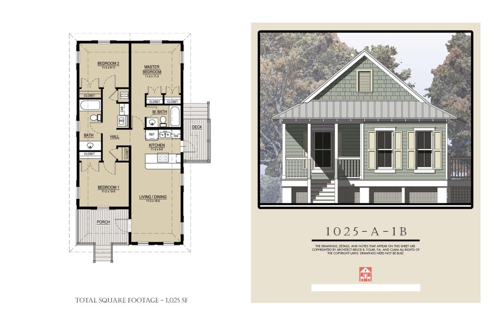 Cottage Style House Plan - 3 Beds 2 Baths 1025 Sq/Ft Plan ...