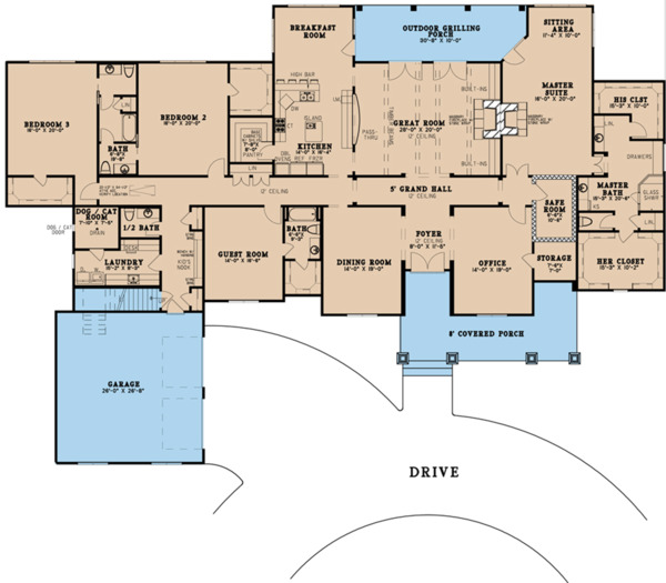 Craftsman Floor Plan - Main Floor Plan Plan #923-121