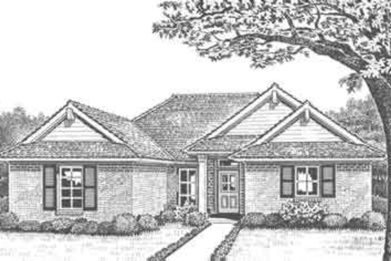 Southern Style House Plan - 3 Beds 2 Baths 1506 Sq/Ft Plan #310-285 Exterior - Front Elevation