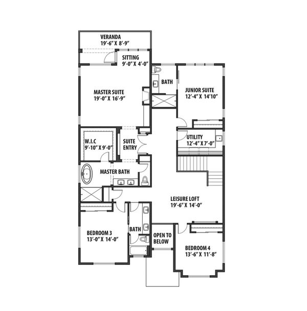 Contemporary Floor Plan - Upper Floor Plan Plan #569-40