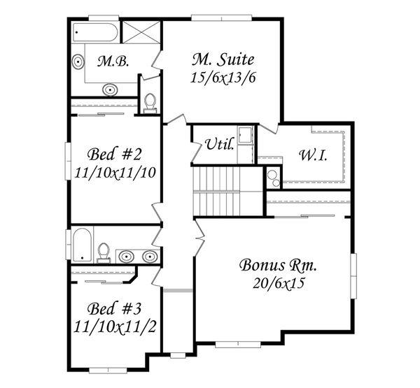 Traditional Floor Plan - Upper Floor Plan Plan #509-71