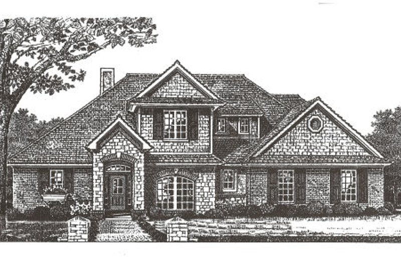European Style House Plan - 4 Beds 3.5 Baths 2406 Sq/Ft Plan #310-368 Exterior - Front Elevation