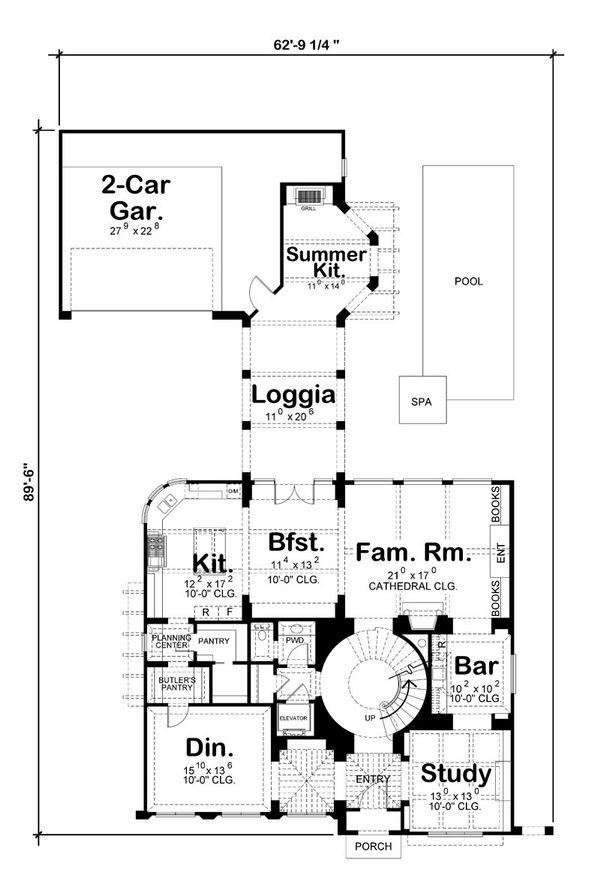 Mediterranean Floor Plan - Main Floor Plan Plan #20-2150