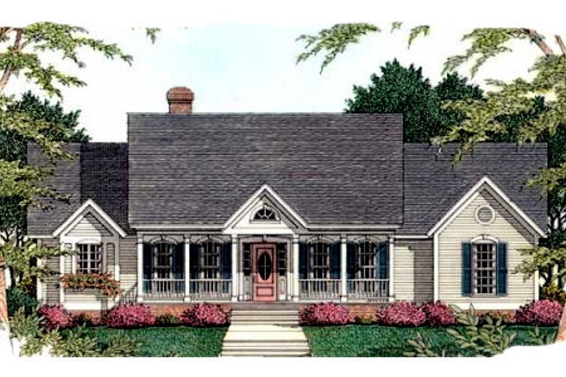 Southern Exterior - Front Elevation Plan #406-208 - Houseplans.com