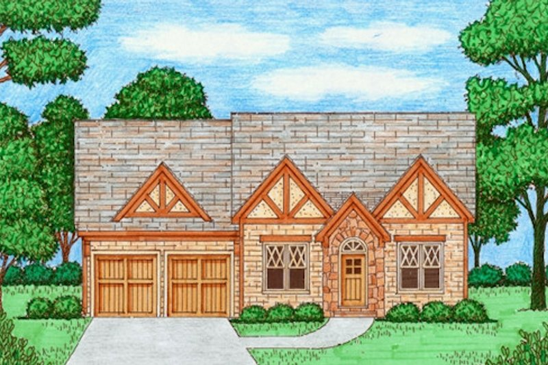 Tudor Exterior - Front Elevation Plan #413-867