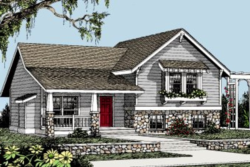 Craftsman Style House Plan - 3 Beds 2 Baths 1224 Sq/Ft Plan #101-301 Exterior - Front Elevation
