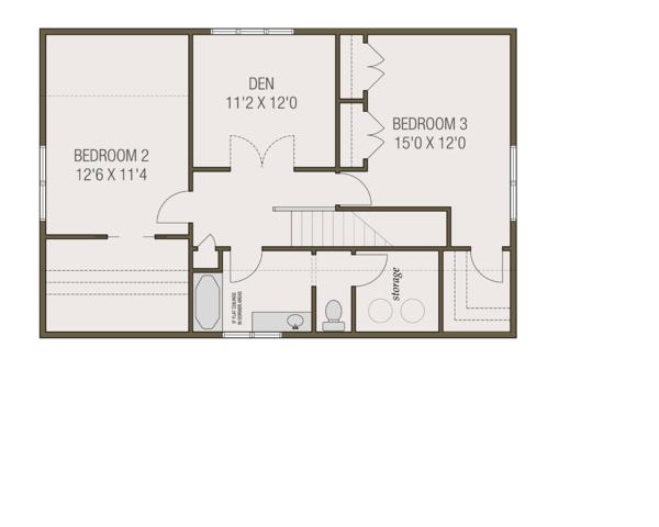 Craftsman Floor Plan - Upper Floor Plan Plan #461-69
