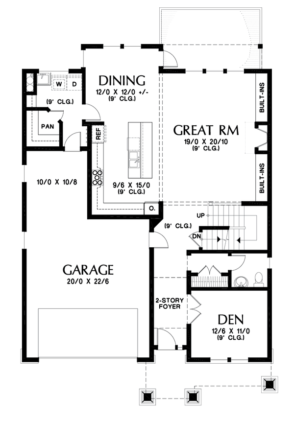 Dream House Plan - Cottage Floor Plan - Main Floor Plan #48-1018