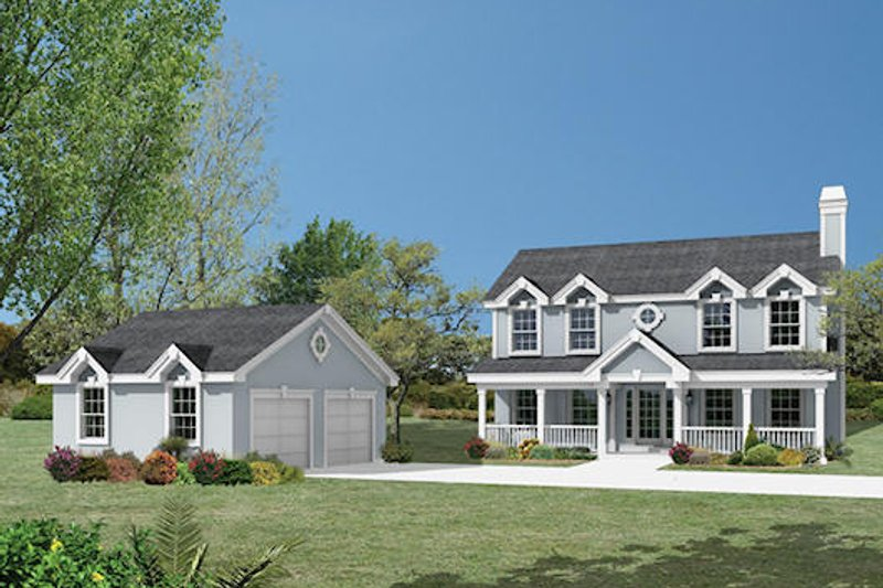 Country Style House Plan - 3 Beds 2.5 Baths 2050 Sq/Ft Plan #57-336 Exterior - Front Elevation