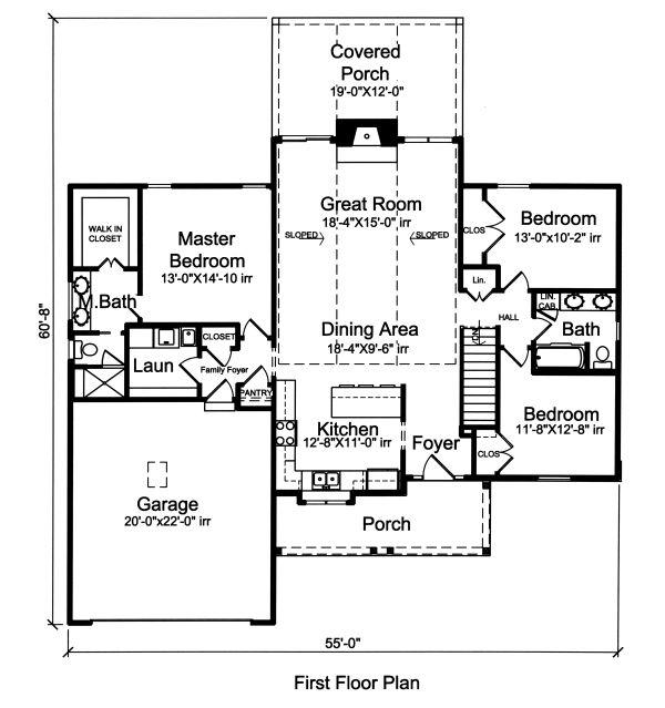 Country Floor Plan - Main Floor Plan Plan #46-892