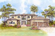 Mediterranean Style House Plan - 4 Beds 5.5 Baths 6041 Sq/Ft Plan #420-184 Exterior - Front Elevation