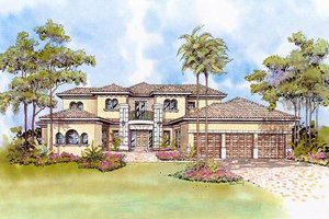 Mediterranean Exterior - Front Elevation Plan #420-184