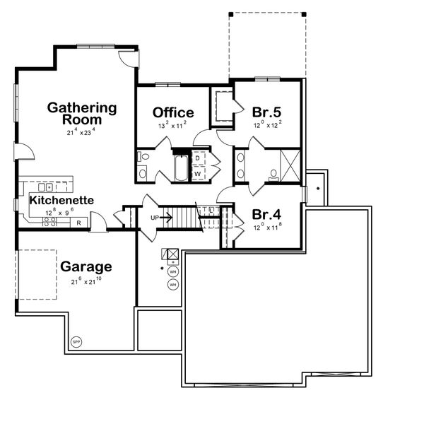 Contemporary Floor Plan - Lower Floor Plan Plan #20-2357