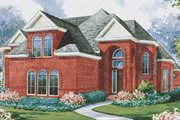 European Style House Plan - 4 Beds 3.5 Baths 4500 Sq/Ft Plan #20-1198 Exterior - Front Elevation