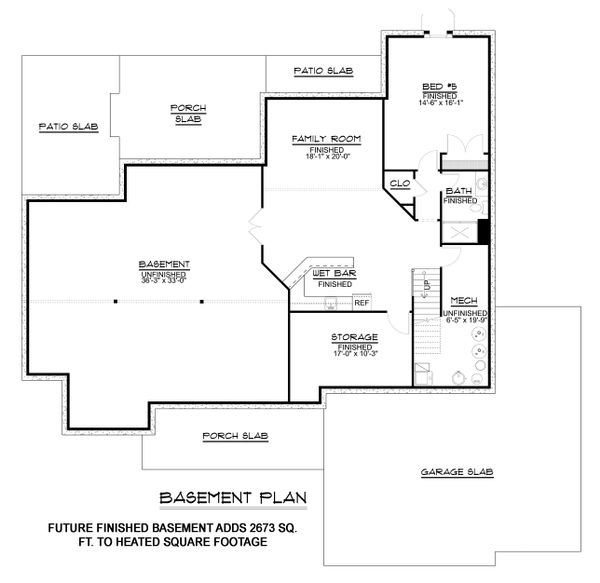 Craftsman Floor Plan - Lower Floor Plan Plan #1064-12