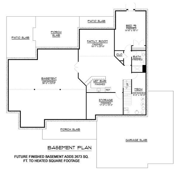 House Plan Design - Craftsman Floor Plan - Lower Floor Plan #1064-12