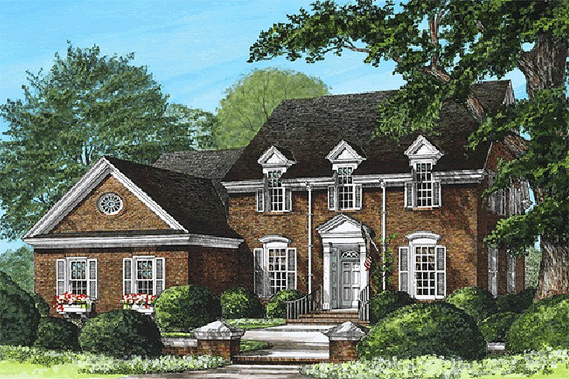 Home Plan - Front view - 2800 square foot Colonial home