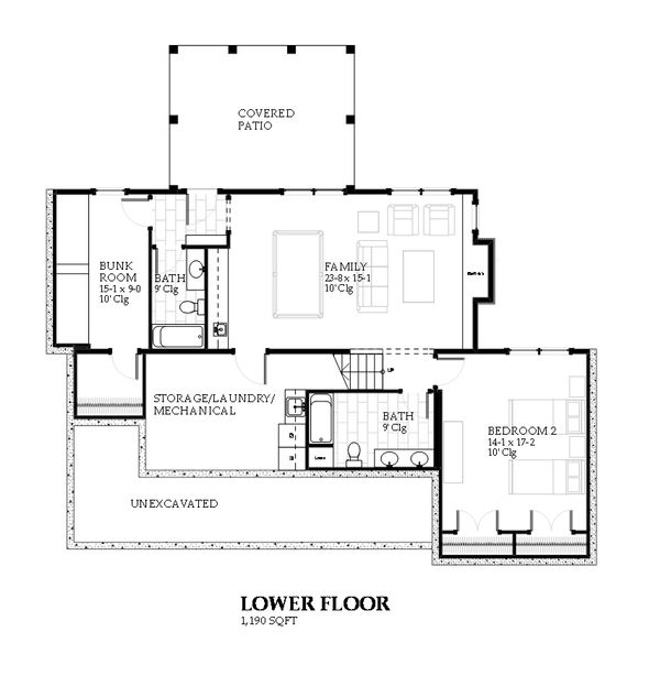 Farmhouse Floor Plan - Lower Floor Plan Plan #901-110