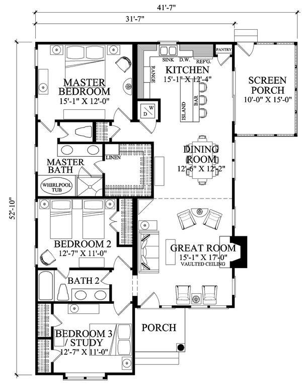 Bungalow Floor Plan - Main Floor Plan #137-270