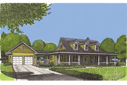 Country Style House Plan - 2 Beds 2 Baths 2077 Sq/Ft Plan #410-120 Exterior - Front Elevation