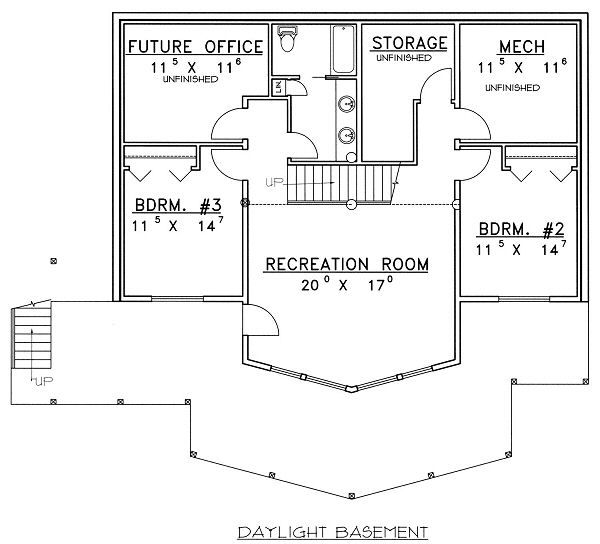 Bungalow Floor Plan - Lower Floor Plan #117-542