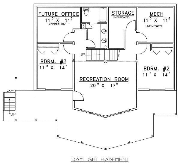 Architectural House Design - Bungalow Floor Plan - Lower Floor Plan #117-542