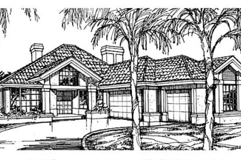 European Style House Plan - 2 Beds 2.5 Baths 2235 Sq/Ft Plan #320-377 Exterior - Front Elevation