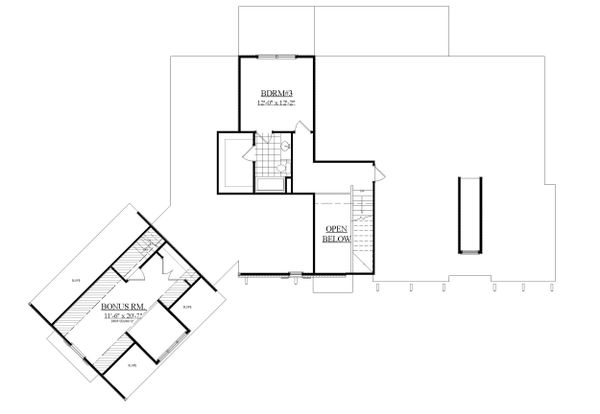 Traditional Floor Plan - Upper Floor Plan Plan #1071-20