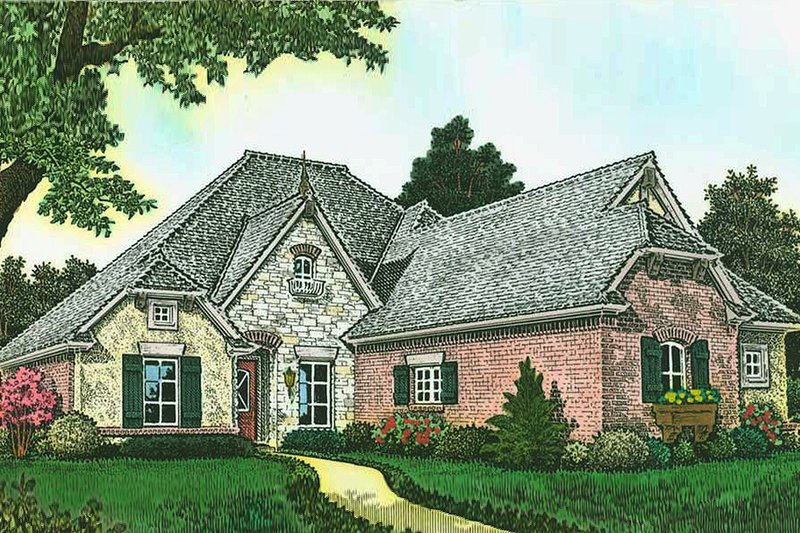 House Plan Design - European Exterior - Front Elevation Plan #310-1286