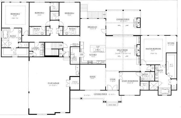Craftsman Floor Plan - Main Floor Plan Plan #437-105