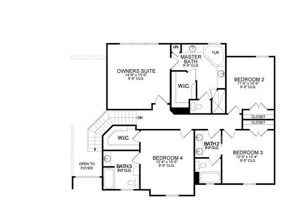 Traditional Floor Plan - Upper Floor Plan #1058-199