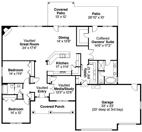 Ranch Floor Plan - Main Floor Plan Plan #124-826