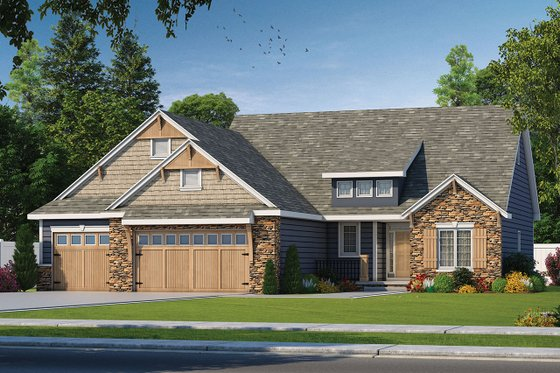Craftsman Exterior - Front Elevation Plan #20-2080