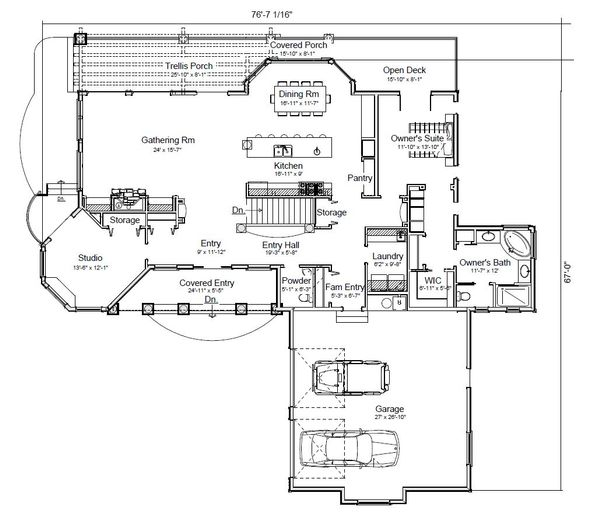Contemporary Floor Plan - Main Floor Plan Plan #451-22