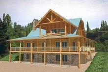 Home Plan - Log Exterior - Rear Elevation Plan #117-111