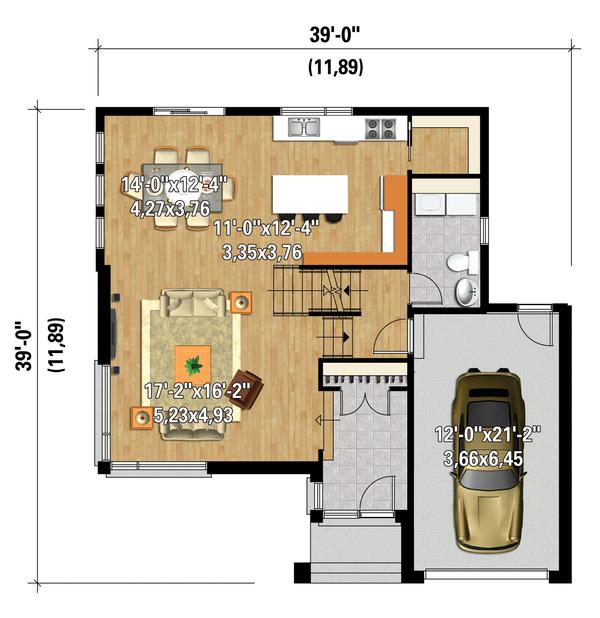 Contemporary Floor Plan - Main Floor Plan Plan #25-4574