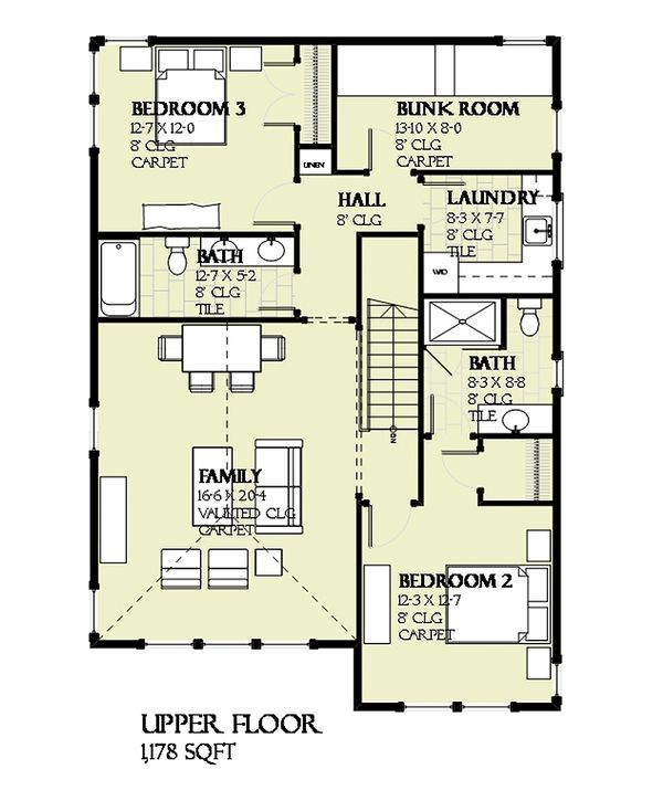 Prairie Floor Plan - Upper Floor Plan #901-116