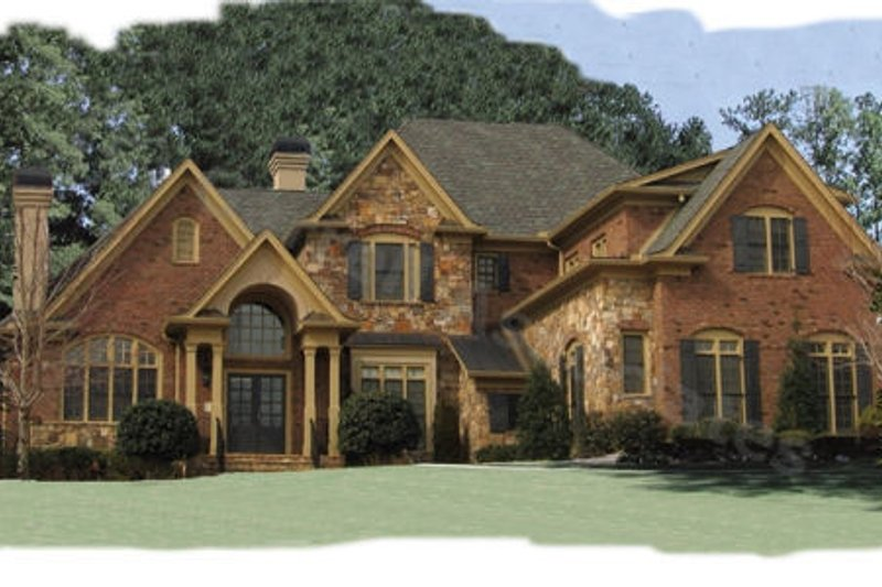 European Style House Plan - 4 Beds 4.5 Baths 4399 Sq/Ft Plan #54-104 Exterior - Front Elevation