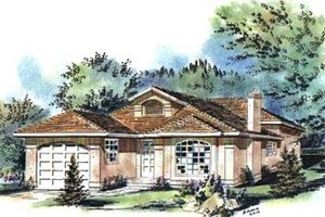 European Exterior - Front Elevation Plan #18-9237