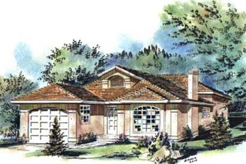 European Style House Plan - 4 Beds 3 Baths 1891 Sq/Ft Plan #18-9237 Exterior - Front Elevation