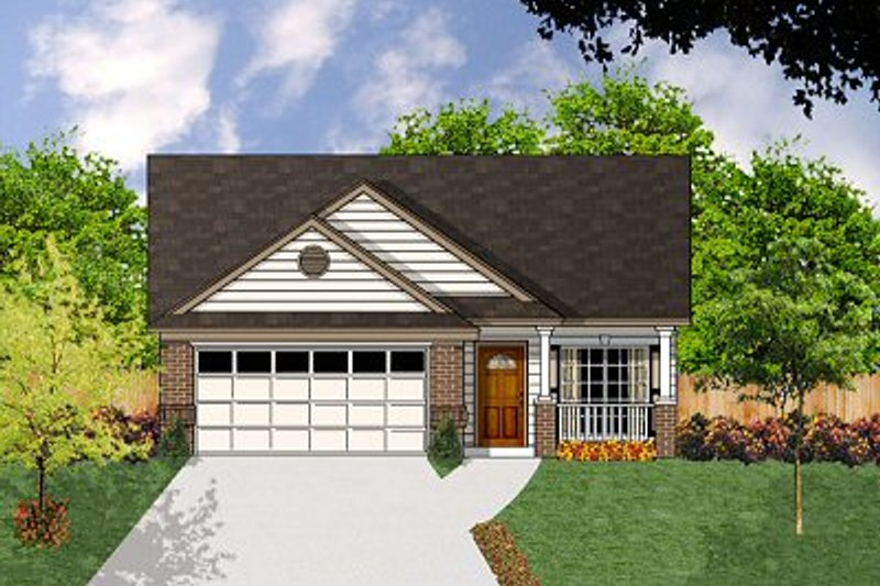 Country Style House Plan - 3 Beds 2 Baths 1250 Sq/Ft Plan #62-126 Exterior - Front Elevation