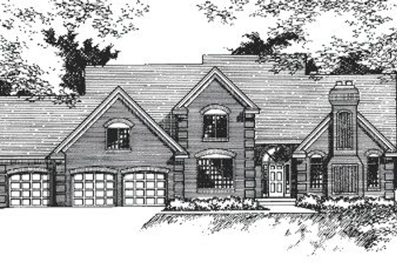 European Style House Plan - 3 Beds 2.5 Baths 2819 Sq/Ft Plan #51-144 Exterior - Front Elevation