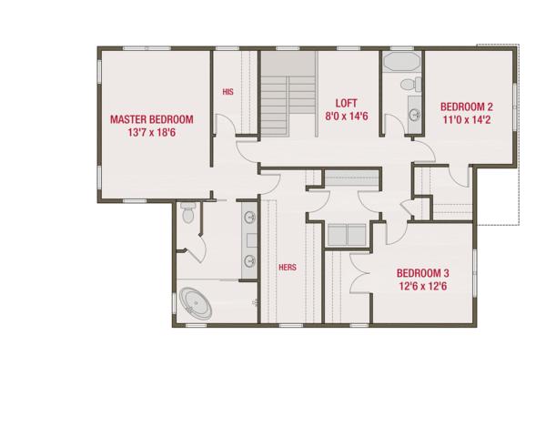 European Floor Plan - Upper Floor Plan #461-58