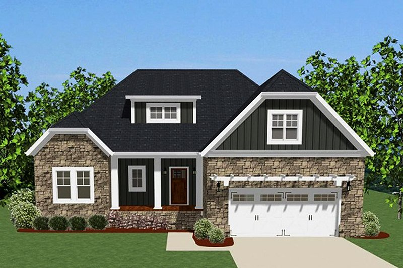 Ranch Exterior - Front Elevation Plan #898-42