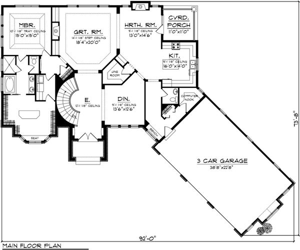 Dream House Plan - Traditional Floor Plan - Main Floor Plan #70-1091