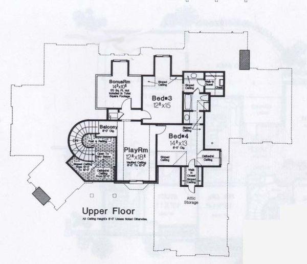 Colonial Floor Plan - Upper Floor Plan #310-948