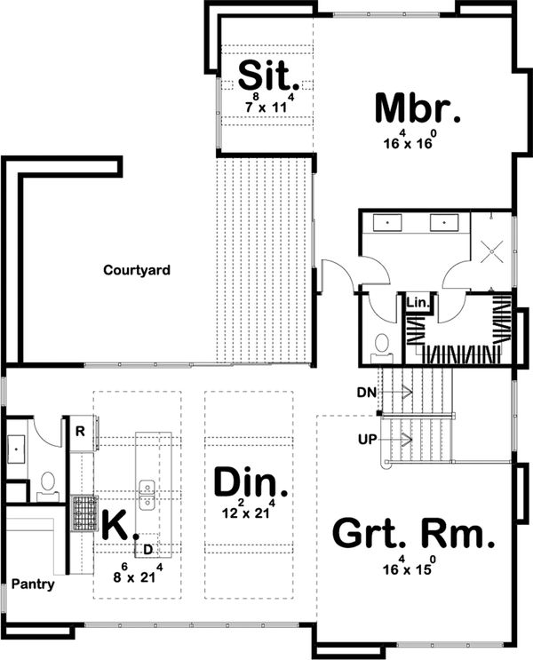Contemporary Floor Plan - Main Floor Plan Plan #455-209