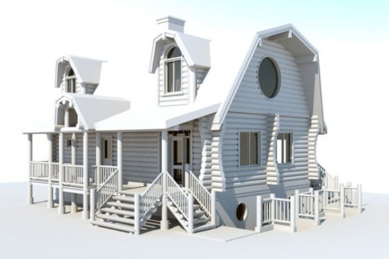 Log Exterior - Front Elevation Plan #451-13