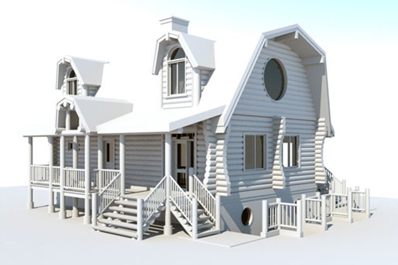 Log Style House Plan - 3 Beds 2 Baths 2296 Sq/Ft Plan #451-13 Exterior - Front Elevation