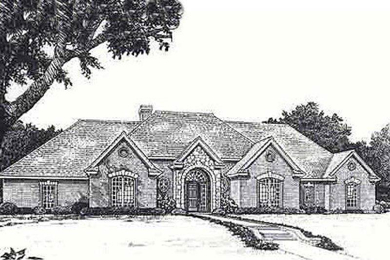 European Style House Plan - 3 Beds 2.5 Baths 2551 Sq/Ft Plan #310-953 Exterior - Front Elevation